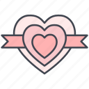hearts, love, lovely, ribbon, valentine, valentine's day icon