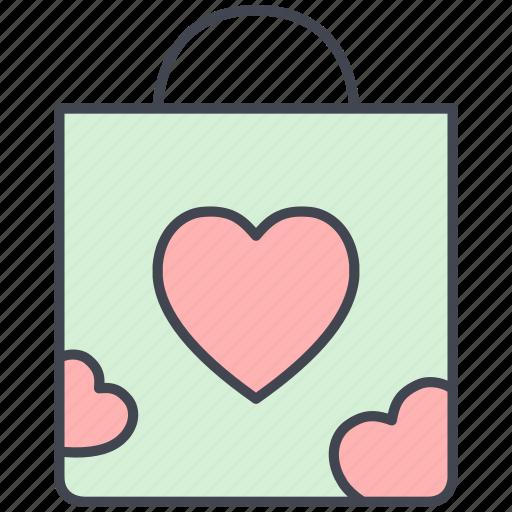 love, love bag, lovely, shopping bag, valentine, valentine's day icon