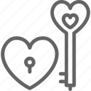 celebration, day, heart, key, lock, love, valentine icon
