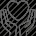 celebration, charity, donation, hand, heart, hold, love icon