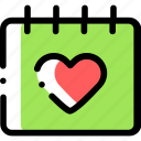 calendar, date, heart, invitation, love icon