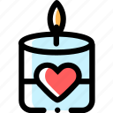candle, heart, love