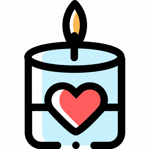 candle, heart, love icon