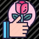 date, flower, heart, lover, rose, valentine icon