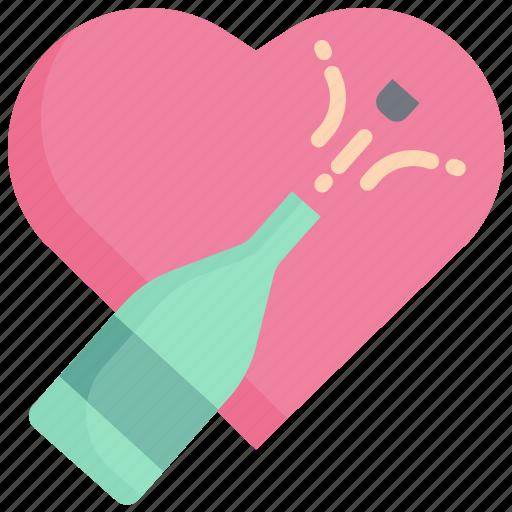 celebration, champagne, drink, heart, party, valentine, wine icon