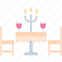 candle, celebration, dinner, drink, love, romantic, wine icon
