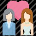 bride, couple, female, lgbt, love, marriage, wedding icon