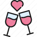 celebration, dinner, drink, love, romantic, valentine, wine icon