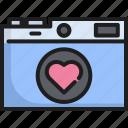 camera, capture, equipment, heart, lens, photography, shutter icon