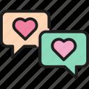 bubble, chat, communication, heart, love, message, valentine icon