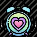 alarm, punctuality, clock, heart, love