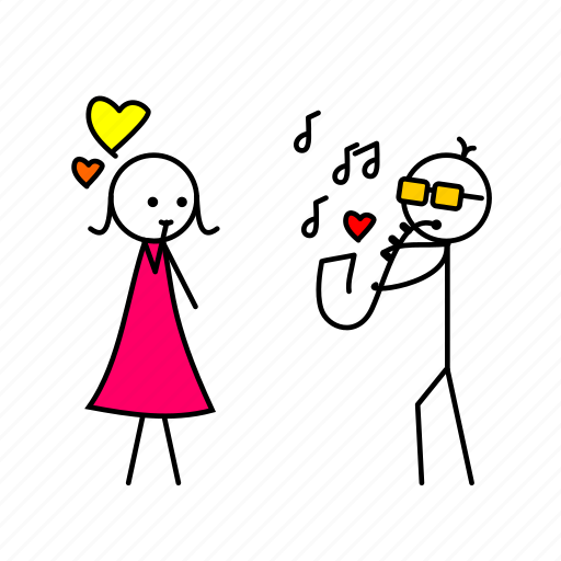 boy, cartoon, girl, love, sexophone icon