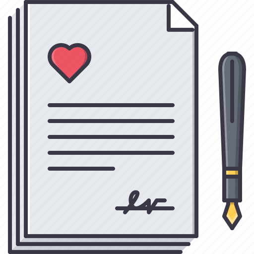 contact, day, love, marriage, pen, relationship, valentine icon