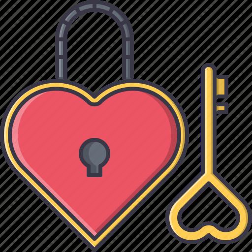 day, heart, key, lock, love, relationship, valentine icon