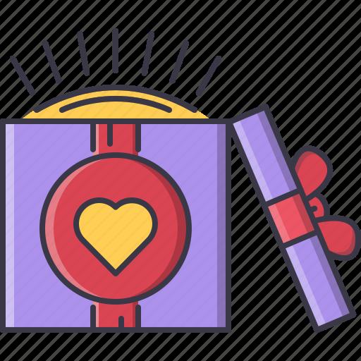 box, day, gift, love, relationship, valentine icon