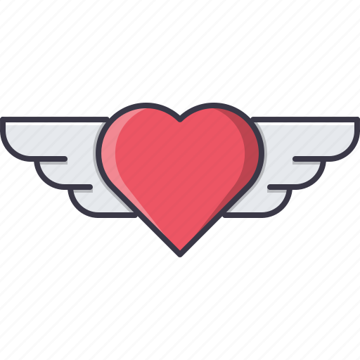 day, heart, love, relationship, valentine, wing icon