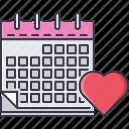 calendar, day, heart, love, relationship, valentine icon
