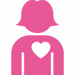 female, heart, in, love, romantic, user, woman icon