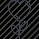 flower, heart flower, love, love flower, lovely, valentine, valentine's day icon
