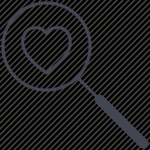 love, lovely, magnifier, valentine, valentine's day icon