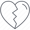 breaking heart, heart, love, lovely, sadness, valentine, valentine's day icon