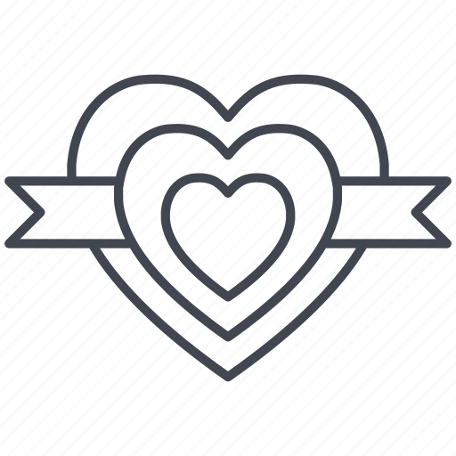 heart, hearts, love, lovely, ribbon, valentine, valentine's day icon