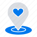 pin, heart, location, map, finder