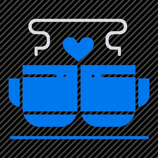 coffee, cup, heart, love, valentine icon
