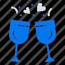 drink, glass, love, wedding icon