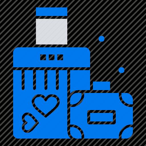 briefcase, heart, love, wedding icon