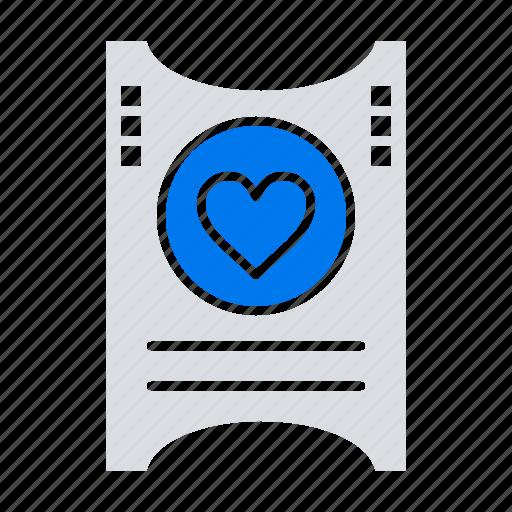 heart, love, ticket, wedding icon