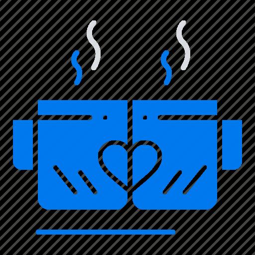 cup, heart, love, tea, wedding icon