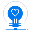 bulb, heart, love, wedding icon