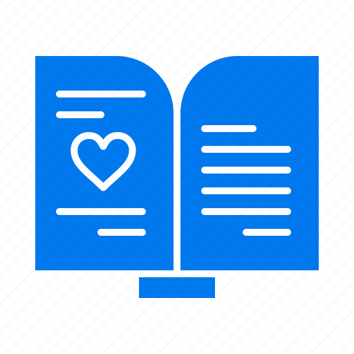 book, heart, love, wedding icon