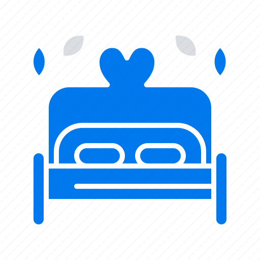 bed, heart, love, wedding icon