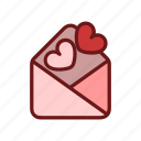 color, envelope, heart, letter, lineal, love, valentine icon