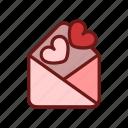 color, envelope, heart, letter, lineal, love, valentine