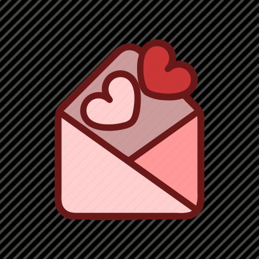 color, envelope, heart, letter, lineal, love, valentine icon