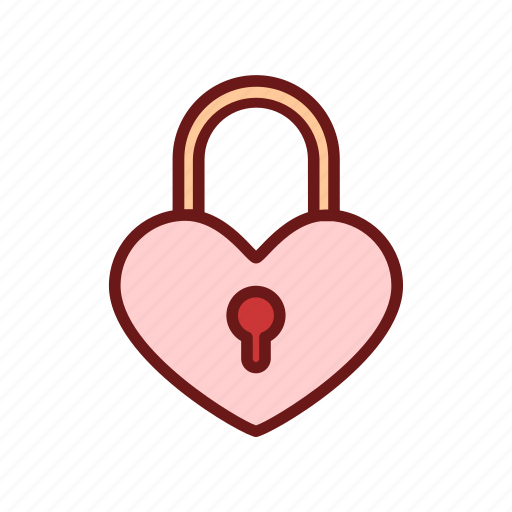 color, heart, lineal, lock, love, security, valentine icon