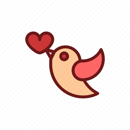 bird, color, heart, lineal, love, romance, valentine icon
