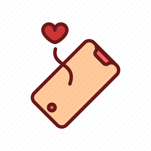 color, heart, lineal, love, mobile, phone, valentine icon