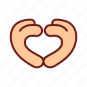 color, gesture, hand, heart, lineal, love, valentine icon
