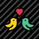 birds, heart, love, romance, valentine
