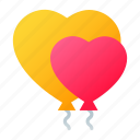 balloons, balls, heart, love