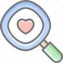 find, dating, heart, love, magnifier