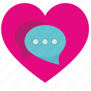 comment, dialog, heart, love, romantic icon