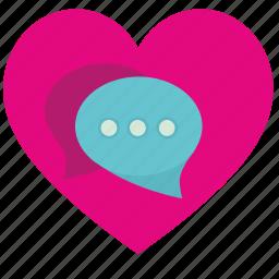 comment, dialog, heart, love, romantic icon