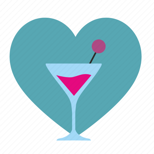 alcohol, drink, heart, like, love, martini, party icon