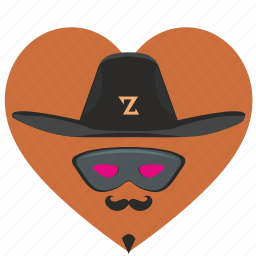 hat, hero, love, mask, romantic, zorro icon