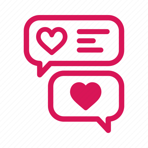 bubble, chat, heart, love, message, talk icon